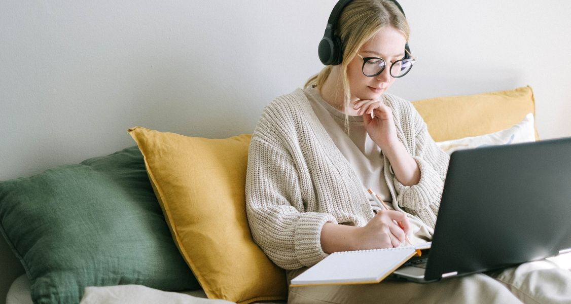 woman works from home